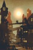 Nachtscène van paar op brug over stadsachtergrond royalty-vrije illustratie
