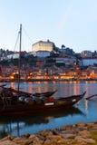 Nachtscène van Porto, Portugal Stock Afbeeldingen