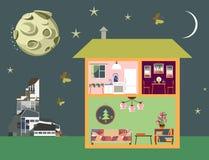 Nachtscène van stad Two-storey huis in besnoeiing, de moderne bouw en maan op hemel Stock Fotografie
