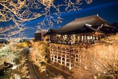 Nachtscène van tempel in Japan met licht omhoog in daling Stock Afbeelding