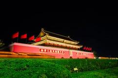 Nachtscène van Tiananmen-poort in Peking, China Stock Fotografie