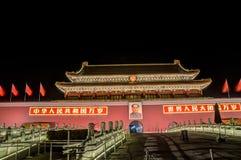 Nachtscène van Tiananmen-poort in Peking, China Royalty-vrije Stock Fotografie