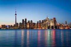 Nachtscène van Toronto van de binnenstad Stock Fotografie