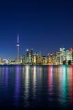 Nachtscène van Toronto van de binnenstad Royalty-vrije Stock Foto