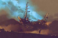 Nachtscène van verlaten schip op de woestijn met stary hemel royalty-vrije illustratie