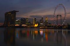 Nachtscènes van Cityscape van Singapore Stock Fotografie