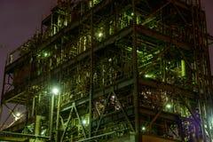 Nachtscène van Fabrieken Stock Afbeeldingen