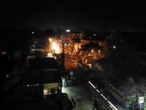 Nachtscène vanaf dakbovenkant Royalty-vrije Stock Fotografie