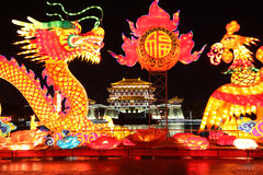 Nachtscènes van Tang Paradise in Xi ` (Xian), China Stock Foto's