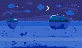 Nachtseespielhintergrund Lizenzfreies Stockfoto
