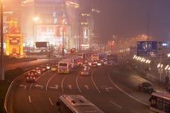 Nachtshanghai-Straßen 1 Stockfotografie