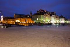 Nachtskyline alter Stadt Warschaus Stockfotografie