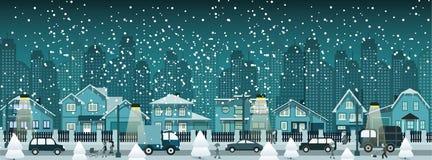 Nachtstad in de winter stock illustratie