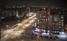 Nachtstad in de winter Royalty-vrije Stock Foto's