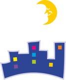 Nachtstad en halve maan royalty-vrije illustratie