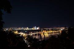 Nachtstad Kiev Royalty-vrije Stock Foto's
