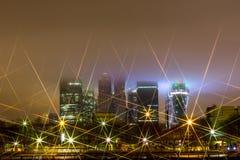 Nachtstad, Moskou bij nacht Stock Fotografie