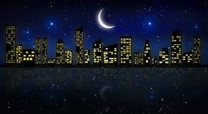 Nachtstad, neonlicht vector illustratie