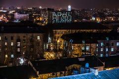 Nachtstad van hoog punt Royalty-vrije Stock Afbeelding