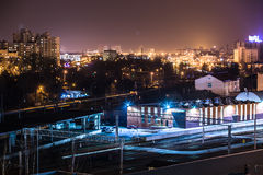 Nachtstad van hoog punt Stock Fotografie