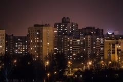Nachtstad van hoog punt Royalty-vrije Stock Foto's