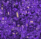 Nachtstad in violet naadloos patroon,  Royalty-vrije Stock Afbeelding