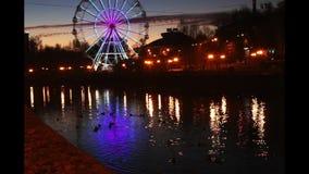 Nachtstadt, Damm und Riesenrad stock video