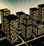 Nachtstadt in der Perspektive Stockbilder