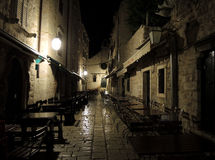 Nachtstadt. Dubrovnik. stockfotos