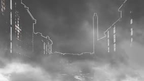 Nachtstadt eingehüllt in Rauch stock video