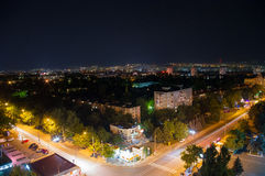 Nachtstadt, elektrische Lichter Chisinau, Moldau Stockbilder