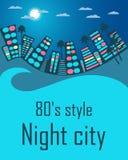 Nachtstadt im Stil der achtziger Jahre Raum für Text Lizenzfreies Stockfoto