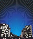 Nachtstadt-komischer Hintergrund Stockfoto