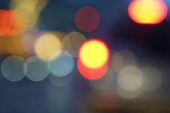 Nachtstadt-Straßenlaternebokeh Hintergrund Stockfoto