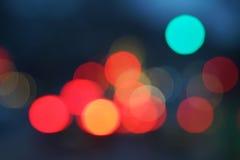Nachtstadt-Straßenlaternebokeh Hintergrund Stockbilder