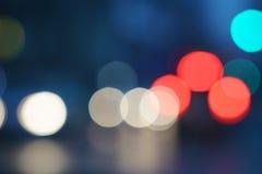 Nachtstadt-Straßenlaternebokeh Hintergrund Stockfotografie