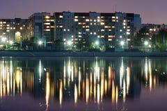 Nachtstadt in Ukraine Stockfotografie