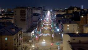 Nachtstadt, vom hohen Boden des Fensters Lizenzfreie Stockfotografie