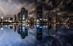 Nachtstadtbild Stockbilder