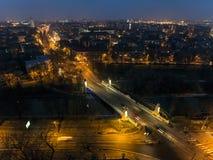 Nachtstadtbild, Hall Lizenzfreie Stockfotografie