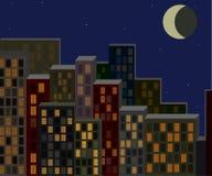 Nachtstadtbild, lebende Gebäude stock abbildung