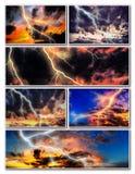 Nachtstadtbild mit starker Blitzcollage Lizenzfreie Stockfotografie