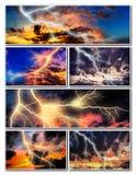 Nachtstadtbild mit starker Blitzcollage Stockfotografie