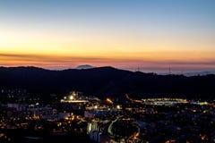 Nachtstadtbild von Barcelona stockfotografie