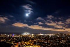 Nachtstadtbild von Barcelona Lizenzfreies Stockfoto