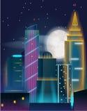 Nachtstadtlandschaft mit Gebäuden in den Neonlichtern Nachtstadtwolkenkratzer Stockfotos