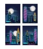 Nachtstadtlandschaft mit Gebäuden in den Neonlichtern Nachtstadtwolkenkratzer Satz Poster Stockbild