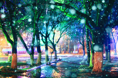 Nachtstadtpark beleuchtet Gassenhintergrundschönheit Stockfoto