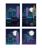 Nachtstadtwolkenkratzer Gebäude in den Neonlichtern Satz Poster Stockfoto