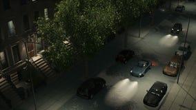 Nachtstraße mit Brownstones und Autos loopable 4K lizenzfreie abbildung